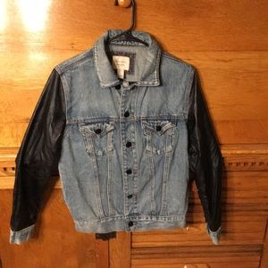 Forever 21 Jean Jacket with Faux Leather Arms